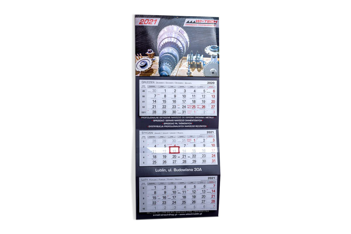 kalendarz ścienny trójdzielny