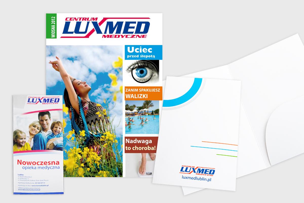 gazetki, ulotki i koperty na wyniki badań Luxmed